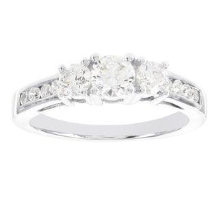 H Star Sterling Silver 1ct Diamagem 3-stone Ring