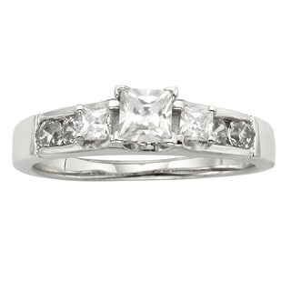 H Star Sterling Silver 1ct Diamagem Princess 3-stone Ring