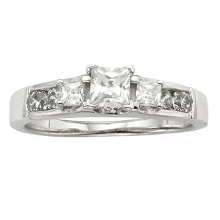 H Star Sterling Silver 1ct Diamagem Princess 3-stone Ring