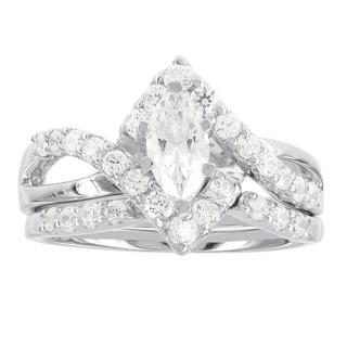 H Star Sterling Silver 1 1/5ct Diamagem Wedding Ring Set