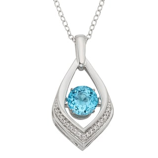 H Star Sterling Silver Blue Topaz Diamond Accent Pendant