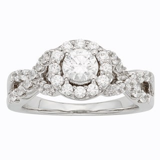 H Star Sterling Silver 2ct Diamagem Halo Ring