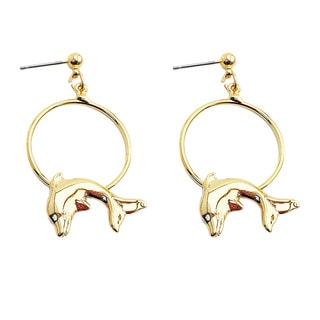 Gold-plated Hoop Earrings/ Dolphin