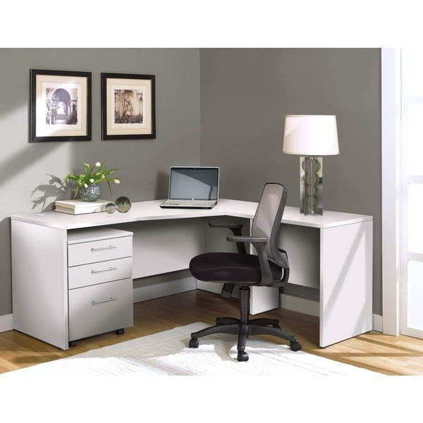White Corner L Shaped Desk - 17601502 - Overstock.com Shopping - Great