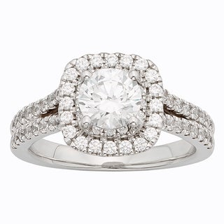 H Star Sterling Silver 2ct Diamagem Halo Ring