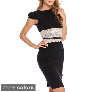 London Dress Company Women's Belted Lace Waist Bodycon Dress
