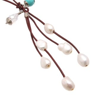 Bleek2Sheek Silver Wire wrapped Leather and Pearl Cascade Necklace (Option: Gold)