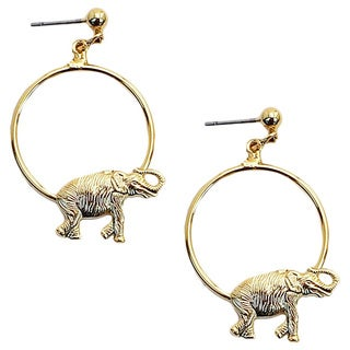 Gold-plated Hoop Earrings/ Elephant
