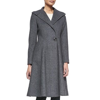 Vera Wang Women's Charcoal Wool Blend Fit and Flare Long Dress Coat