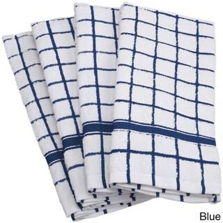 Design Imports Windowpane 4-piece Cotton Dishtowel Set (Option: Blue)