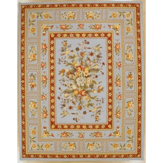 Light Blue Orchid Hand Hooked Oriental Rug (6x9)