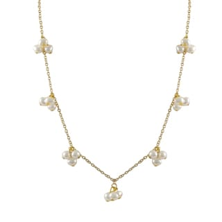 Luxiro Gold Finish Baroque Freshwater Pearl Station Necklace