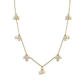 Luxiro Gold Finish Baroque Freshwater Pearl Station Necklace - White