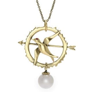 Mockingjay Necklace with Ruby CZ & Faux Pearl