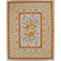 Light Blue Orchid Hand Hooked Oriental Rug