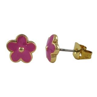 Luxiro Gold Finish Children's Enamel Flower Stud Earrings