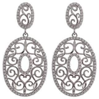 Luxiro Two-Tone Sterling Silver Pave Cubic Zirconia Filigree Oval Dangle Earrings
