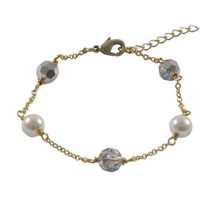 Luxiro Gold Finish Preciosa Czech Crystal Beads Faux Pearls Bracelet - Silver