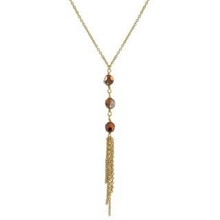 Luxiro Gold Finish Preciosa Czech Crystal Beads Tassel Necklace - White