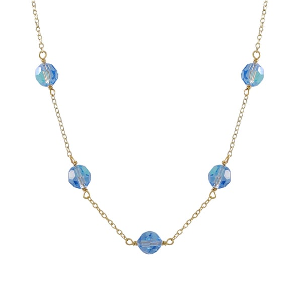 Luxiro Gold Finish Preciosa Czech Crystal Beads Station Necklace. Opens flyout.