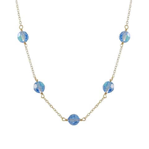 Luxiro Gold Finish Preciosa Czech Crystal Beads Station Necklace