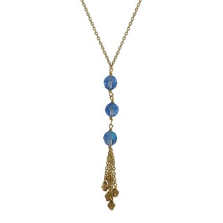 Luxiro Gold Finish Preciosa Czech Crystal Beads Tassel Necklace