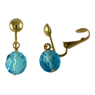 Luxiro Gold Finish Fire-Polished Czech Crystal Bead Dangle Clip-on Earrings