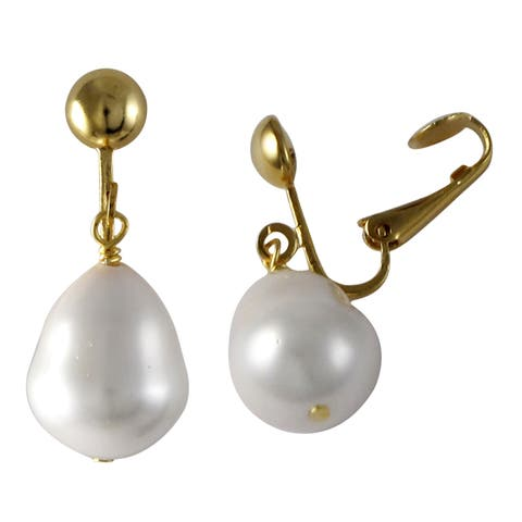 Luxiro Gold Finish Baroque Shell Pearl Dangle Clip-on Earrings - White