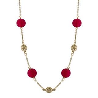 Luxiro Gold Finish Jade Gemstone Cubic Zirconia Station Necklace