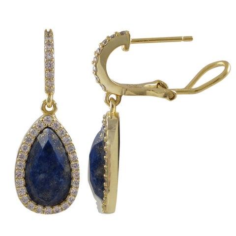 Luxiro Sterling Silver Gold Finish Semi-precious Gemstone Teardrop Dangle Earrings