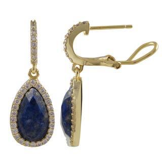 Luxiro Sterling Silver Gold Finish Semi-precious Gemstone Teardrop Dangle Earrings|https://ak1.ostkcdn.com/images/products/10517572/P17601544.jpg?impolicy=medium