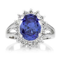 Brass Light Blue CZ Royal Style Engagement Ring