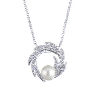 Wedding Faux Pearl and CZ Charm Necklace