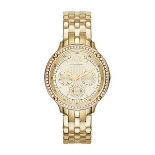 Armani Exchange Women's Diamond Multi-Function Gold-Tone Stainless Steel Bracelet Watch AX5408