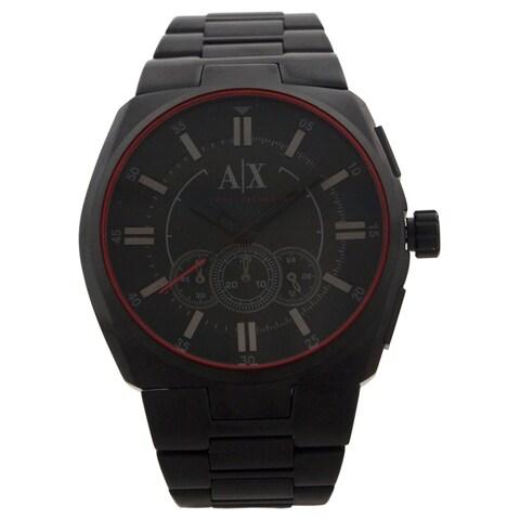 Armani Exchange Men's Chronograph Black Dial Black Stainless Steel Bracelet Watch