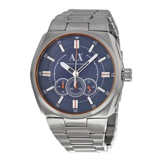 Armani Exchange Men's Chronograph Blue Dial Stainless Steel Bracelet Watch AX1800