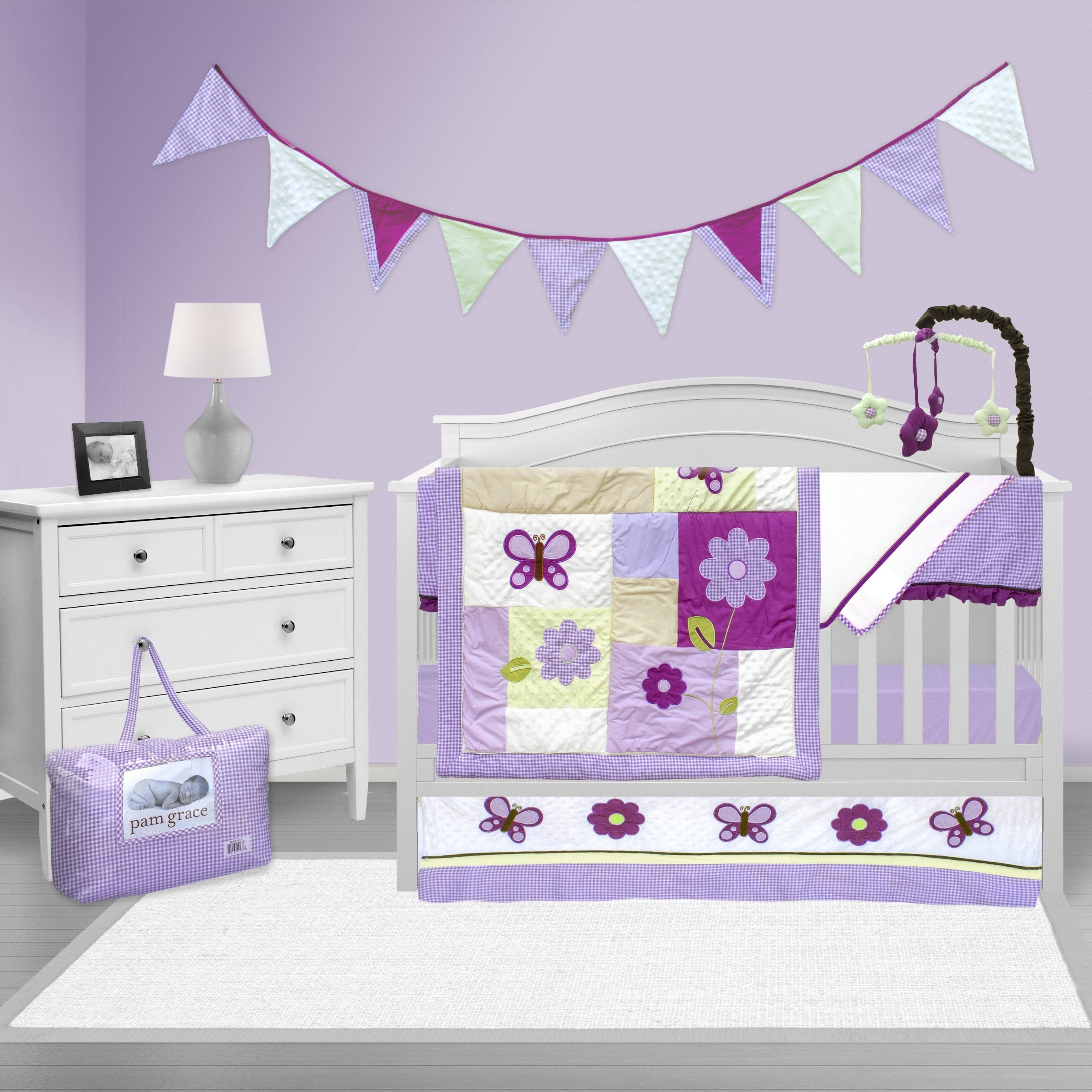 Shop Black Friday Deals On Pam Grace Creations Lavender Butterfly Crib Bedding Set Overstock 10517632