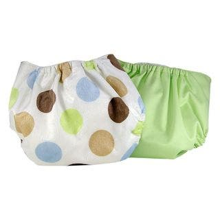 Pam Grace Creations Green Polka-dot Cloth Diaper Covers (Set of 2) (Option: Green)|https://ak1.ostkcdn.com/images/products/10517649/P17601588.jpg?impolicy=medium