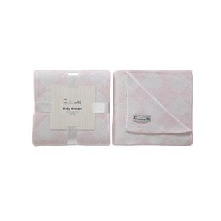 Cream Bebe Argyle 100-percent Cotton Knit Blanket Pink/White