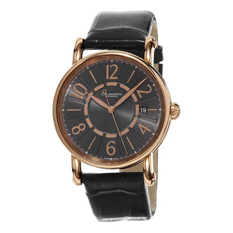 Chronoswiss Women's 'Classic' Grey Dial Grey Leather Strap Rose Gold Swiss Automatic
