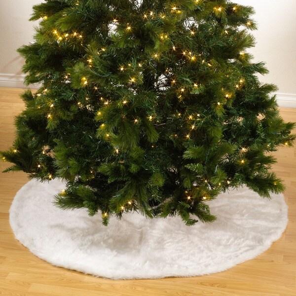 Noel Blanc Faux Fur Design White Holiday Christmas Tree Skirt ...
