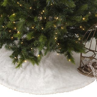 noel blanc faux fur design white holiday christmas tree skirt - Coastal Christmas Tree Skirt
