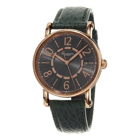 Chronoswiss Women's 'Classic' Grey Dial Green Leather Strap Rose Gold Swiss Automat