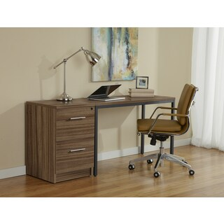 Parsons Desk with File Cabinet in Walnut