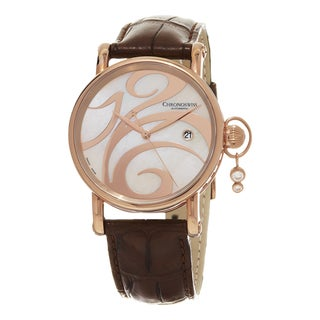 Chronoswiss Women's 'Swing' Mother of Pearl Dial Brown Leather Strap Swiss Automati