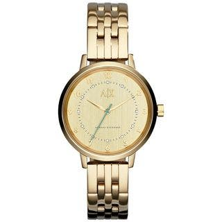 Armani Exchange Women's AX5361 'Smart' Crystal Gold-Tone Stainless Steel Watch https://ak1.ostkcdn.com/images/products/10517782/P17601726.jpg?impolicy=medium