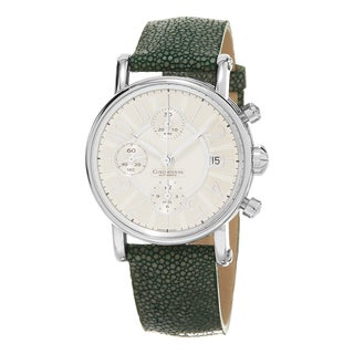 Chronoswiss Women's 'Classic' Silver Dial Green Leather Strap Chronograph Swiss Aut