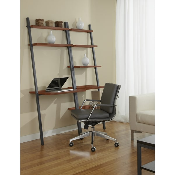 Jesper Office Leaning Ladder Desk with Bookcase in Cherry Free