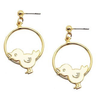 Gold tone Bird Hoop Earrings