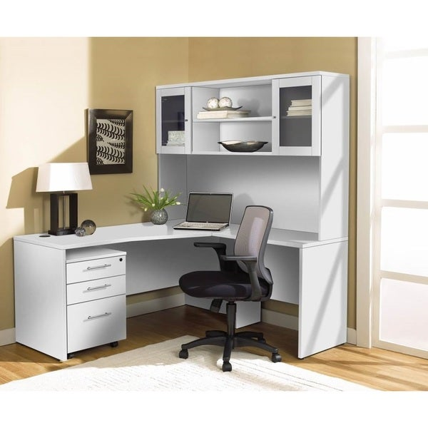 White corner l shaped desk with hutch and mobile pedestal White l shaped desk
